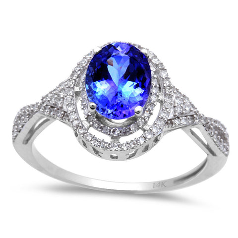 1.94ct Genuine Oval Tanzanite & Diamond Solitaire Engagement Ring 14kt