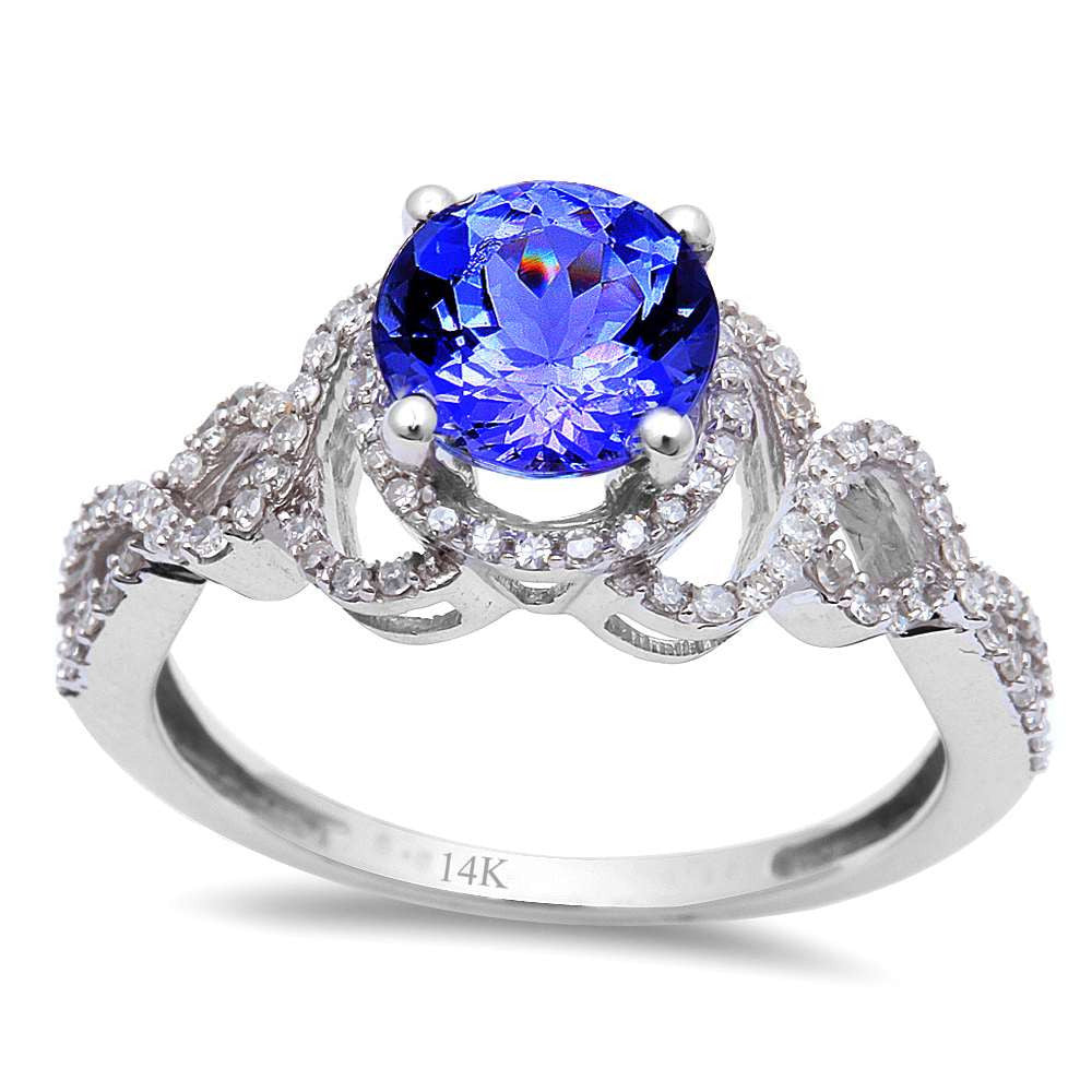 <span>GEMSTONE CLOSEOUT! </span>1.61ct Genuine Tanzanite & Diamond Twisted Prong Halo Solitaire Engagement Ring