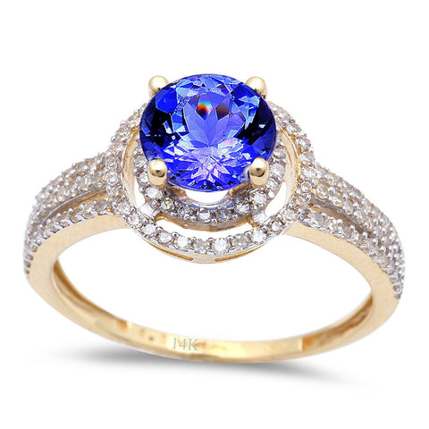 1.79ct Genuine Tanzanite & Diamond Twisted Prong Solitaire Engagement Ring 14kt