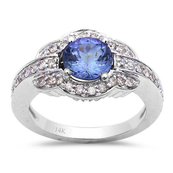1.90ct Genuine Tanzanite & Diamond Engagement Ring 14kt White Gold