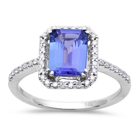 1.67CT Genuine Tanzanite Halo Style Diamond Engagement Ring Size 7