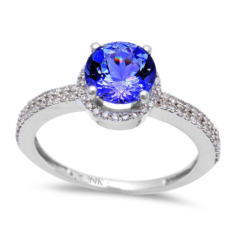 <span>GEMSTONE CLOSEOUT! </span>1.48ct Genuine Tanzanite & Diamond Solitaire Engagement Ring Size 6.5
