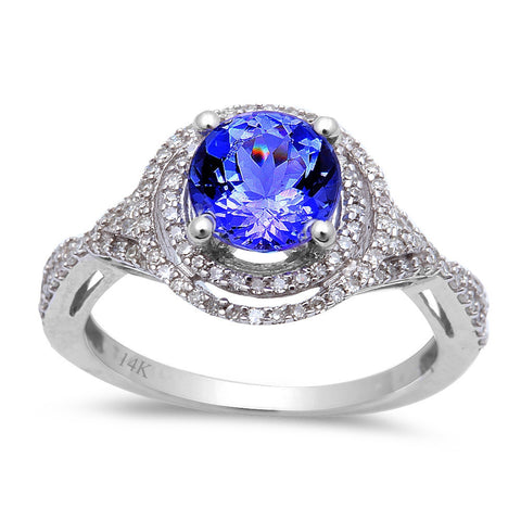 1.70ct Genuine Tanzanite & Round Diamond twisted prong Engagement Ring Size 6.5