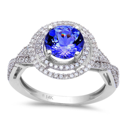 1.79ct Genuine Tanzanite & Round Diamond Halo style Solitaire Engagement Ring