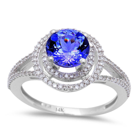 <span>GEMSTONE CLOSEOUT! </span>1.58ct Genuine Tanzanite & Round Diamond Halo style Solitaire Engagement Ring