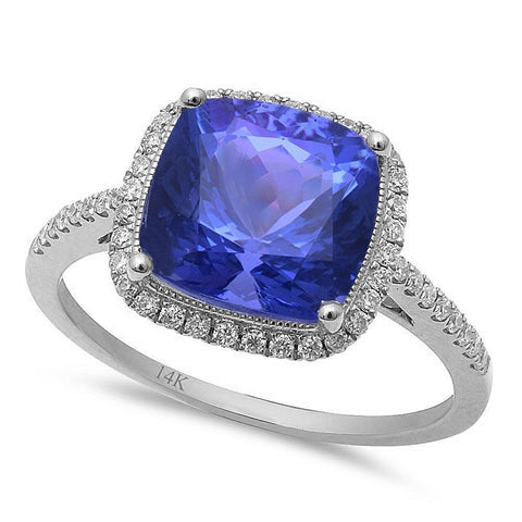 3.80ct F VS Tanzanite & Diamond Engagement Ring Size 6.5