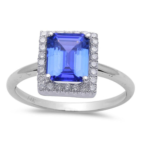 2.49ct Genuine Emerald Cut Tanzanite & Diamond Halo Engagement Ring Size 6.5