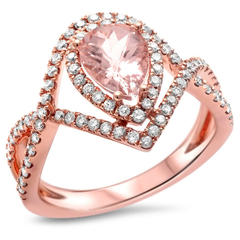 1.54ct E VS Twisted Prong Morganite Halo Diamond Engagement Ring Size 6.5