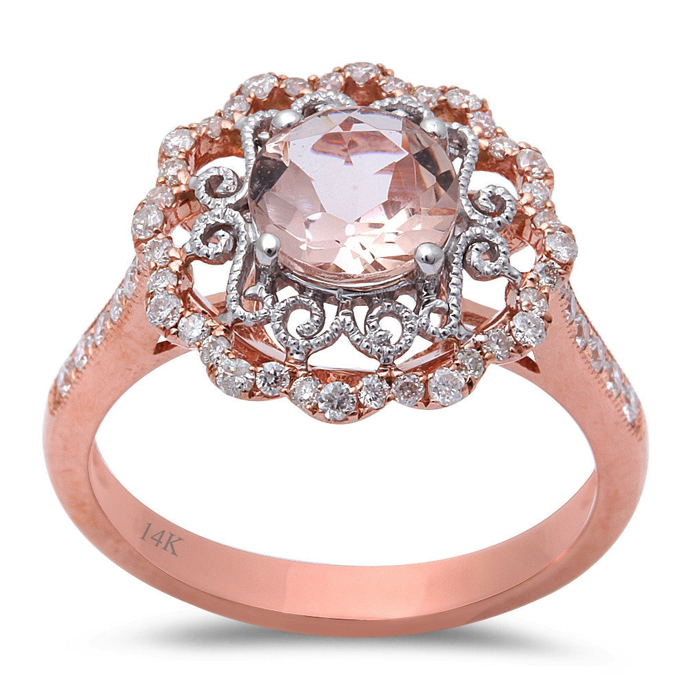 1.48ct F VS Morganite & Round Diamond 14kt Rose Gold Engagement Ring Size 6.5