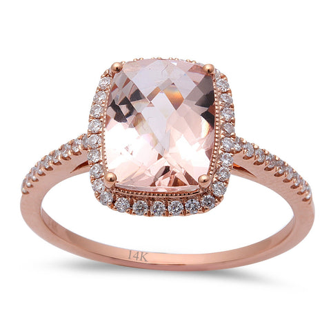 2.13ct F VS Morganite & Round Diamond 14kt Rose Gold Engagement Ring Size 6.5