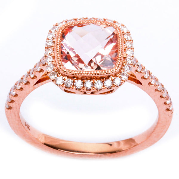 1.68ct Morganite & Round Diamond 14kt Rose Gold HALO Style Engagement Ring