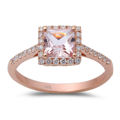 1.05ct F VS Morganite & Round Diamond 14kt Rose Gold Engagement Ring Size 6.5