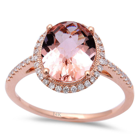 2.19ct Oval Morganite & Round Diamond 14kt Rose Gold Engagement Ring Size 6.5