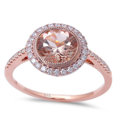 1.36ct F VS Morganite & Round Diamond 14kt Rose Gold Engagement Ring Size 6.5
