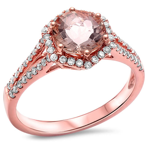 1.69CT E VS Round Morganite Halo Diamond Engagement Ring Size 6.5