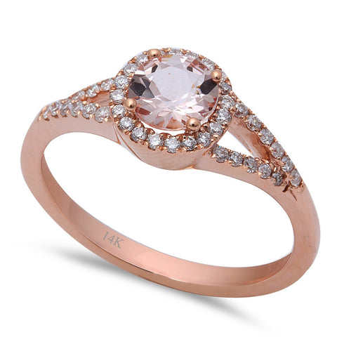 .71ct F VS Morganite & Round Diamond 14kt Rose Gold Engagement Ring Size 6.5