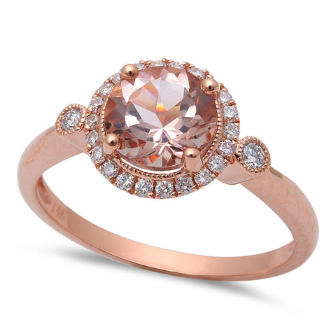 1.39ct F VS Morganite & Round Diamond 14kt Rose Gold Engagement Ring Size 6.5