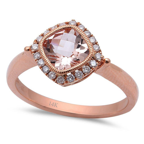 1.06ct F VS Morganite & Round Diamond 14kt Rose Gold Engagement Ring Size 6.5