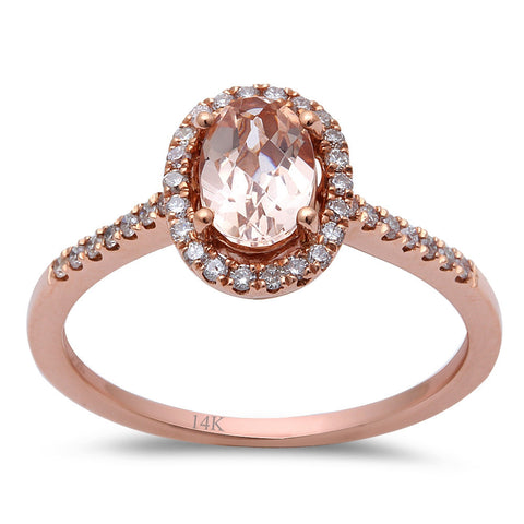 .78ct F VS Morganite & Round Diamond 14kt Rose Gold Engagement Ring Size 6.5
