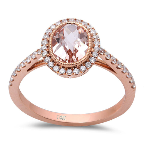 1.41ct F VS Morganite & Round Diamond 14kt Rose Gold Engagement Ring Size 6.5