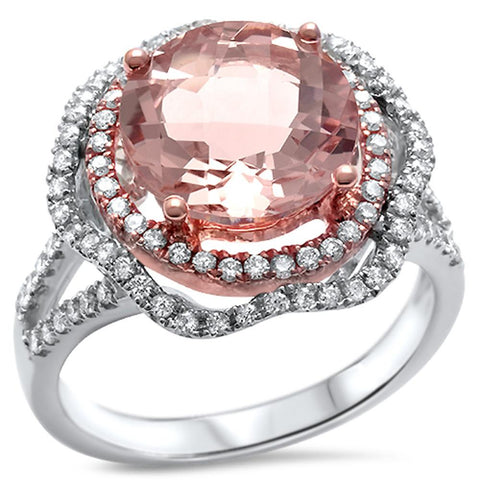 3.93ct 14k White Gold Morganite & Diamond Ring Size 6.5