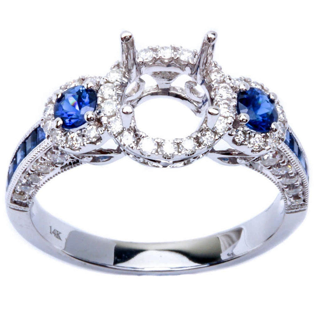 1.13ct Halo Style Genuine Blue Sapphire & Diamond Semi Mount Engagement Ring