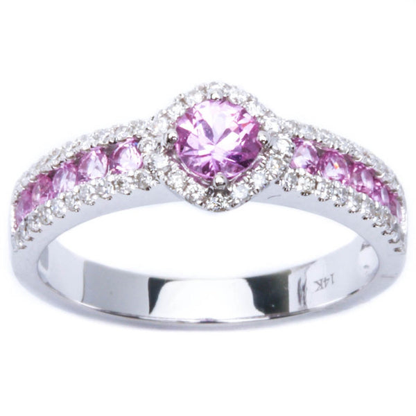 14k Pave Set .95ct Pink Sapphire & Diamond FINE Engagement Gemstone Band Ring