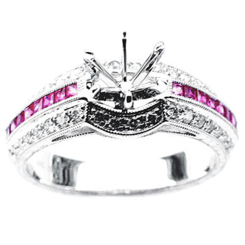 14k White Gold Pink Sapphires and Diamond Bridal Set Semi-Mount Engagement Ring - Size 6.5