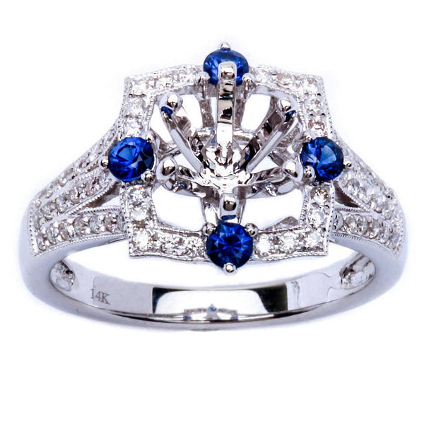.60ct Genuine Blue Sapphire & Diamond Engagement Semi Mount Wedding Ring