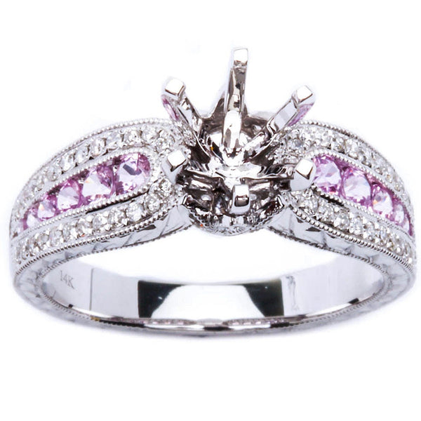 .84ct Genuine Pink Sapphire & Diamond Engagement Semi Mount Wedding Ring