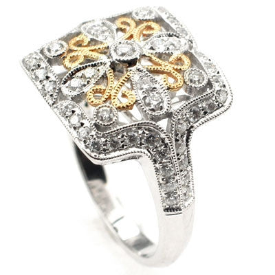 14k Two-Tone Floral Anniversary Diamond Ring - Size 6.5
