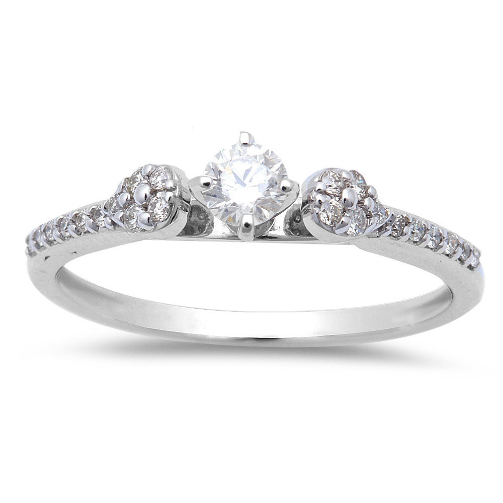 .27ct Round Diamond Three stone Solitaire Engagement Promise ring size 6.5