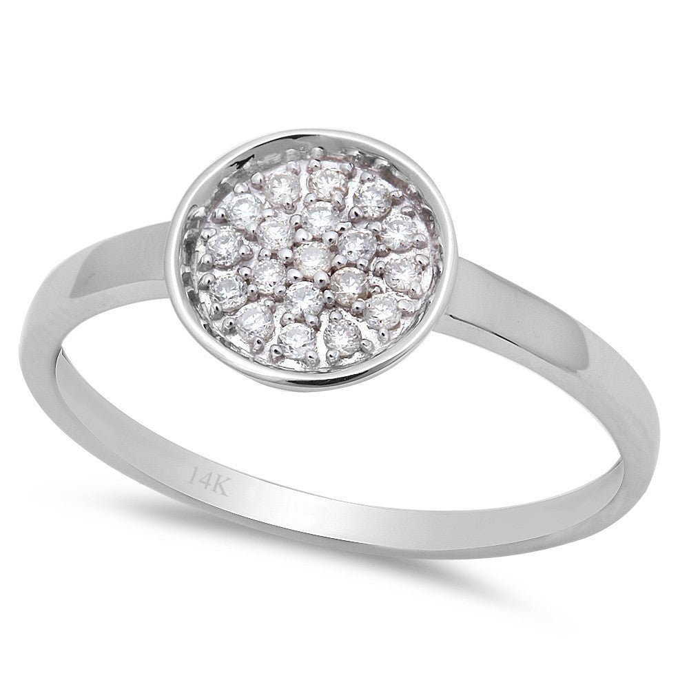 <span>DIAMOND CLOSEOUT!</span>.12ct Round Shaped Diamond Promise Love Engagement Ring 14kt White Gold