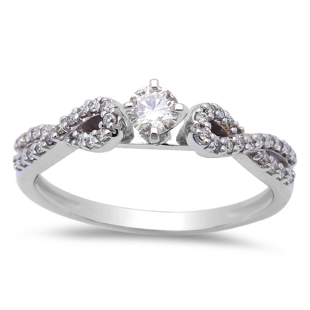 .30ct Diamond Infinity Twist Band Solitaire 14kt White Gold Engagement Ring