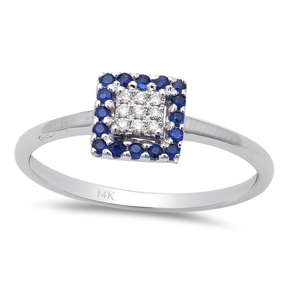 <span>GEMSTONE CLOSEOUT! </span>.15CT Diamond & Blue Sapphire Princess Cut Engagement Ring size 6.5 14kt Gold