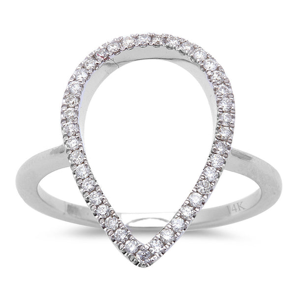 .22ct Diamond Designer Pear Shaped Pave Set Modern 14kt White Gold Ring Size 6.5
