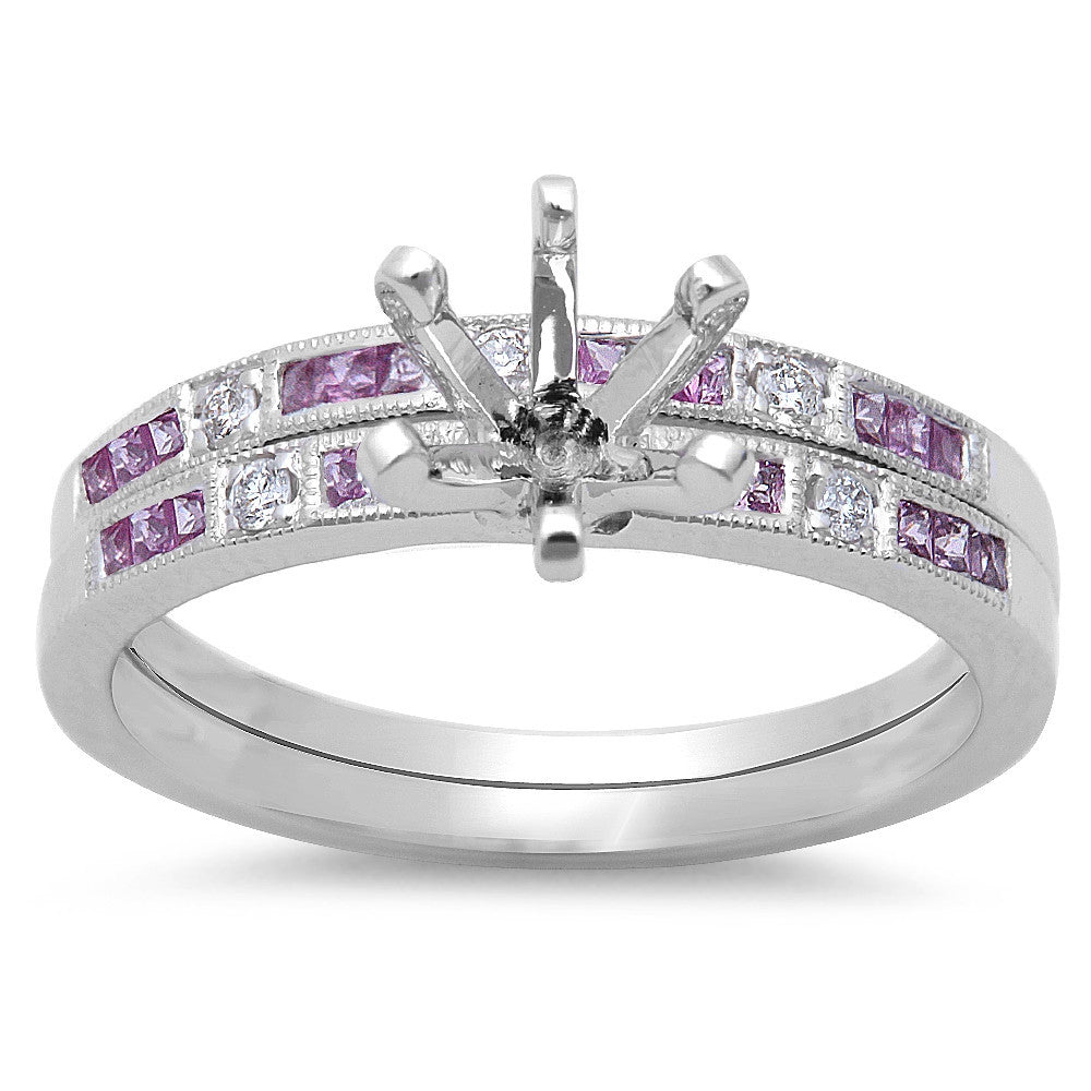 <span>GEMSTONE CLOSEOUT! </span>.41ct Pink Sapphire & Diamond Engagement Wedding Bridal Semi mount Set 14kt