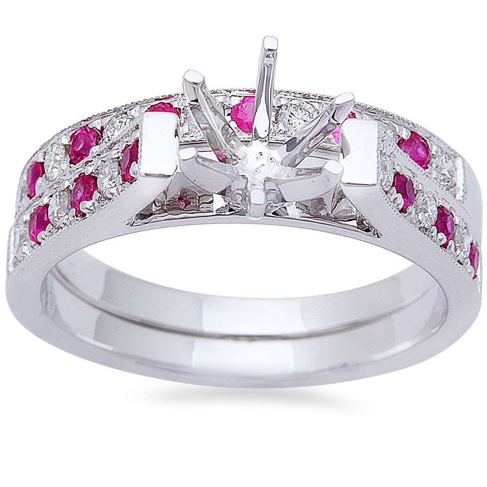 .61ct Pink Sapphire & Diamond Engagement Wedding Bridal Semi mount Set