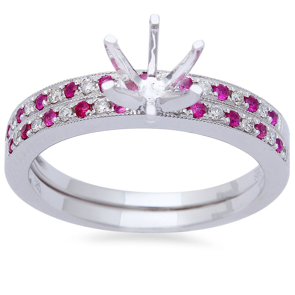 <span>GEMSTONE CLOSEOUT! </span>.29ct Pink Sapphire & Diamond Engagement Wedding Bridal Semi mount Set