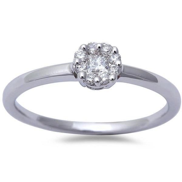 Beautiful White Gold Round Diamond Solitaire Promise Engagement Ring Size 6.5