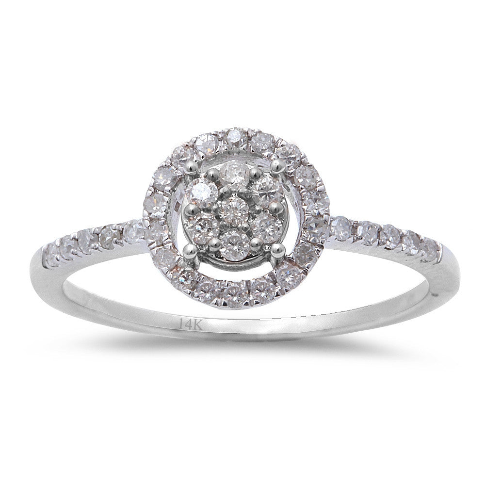 .29CT Round Diamond 14kt White Gold Halo Style Engagement Ring Size 6.5