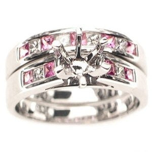 1.03ct Semi Mount Engagement Ring Pink Sapphire & Round Diamond Wedding Set