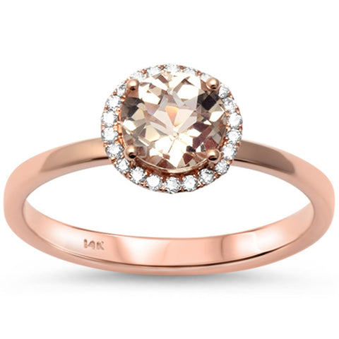 0.89cts 1 Morganite Gemstone & Diamond 14k Rose Gold Ring Size 6.5