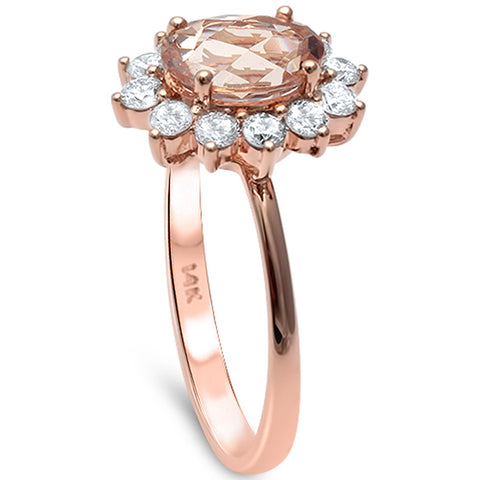 1.68cts Morganite Gemstone & Diamond 14k Rose Gold Ring Size 6.5