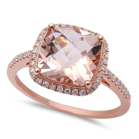 2.73ct Morganite & Round Diamond 14kt Rose Gold Engagement Ring Size 6.5