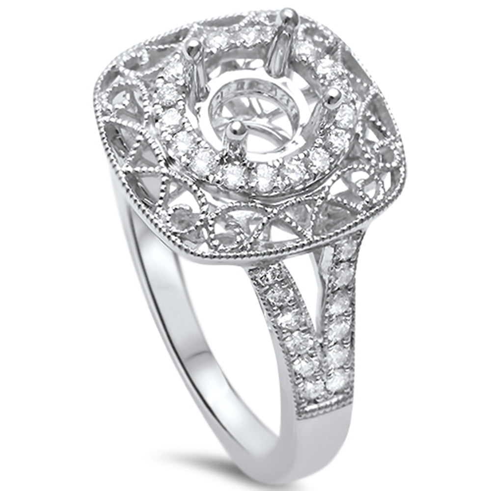 .34ct F SI 14kt White Gold Diamond Semi Mount Ring Size 6.5