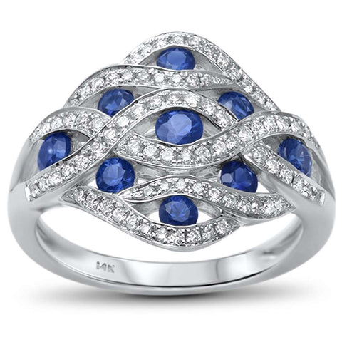 .21ct F SI 14kt White Gold Round Diamond & Blue Sapphire Ring Size 6.5