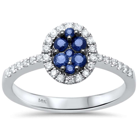.56ct F SI1 14k White Gold Oval Blue Sapphire & Diamond Engagment Ring Size 6.5