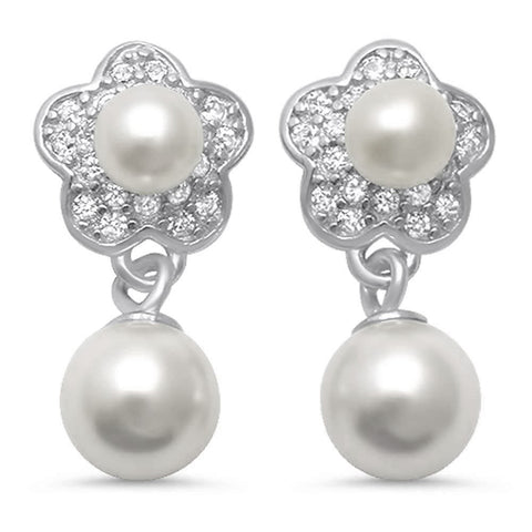 Freshwater Pearl Drop Earrings .925 Sterling Silver Earrings