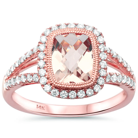 1.54ct F SI1 14k Rose Gold Morganite & Diamond Designer Ring Size 6.5